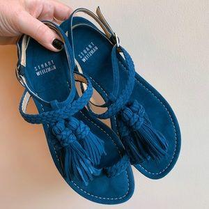 Stuart Weitzman blue suede tassel sandal Size 7